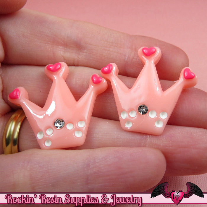 5 pc HEART CROWN with Crystal Kawaii Cabochons / Flatback Resin Decoden Cabochon - Rockin Resin