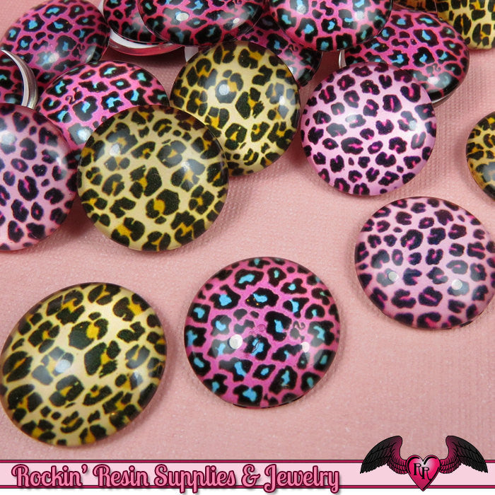 6 pc CHEETAH GLASS DOMES Cabochon / Animal print Decoden Flatback Cabochons 20mm - Rockin Resin  - 1