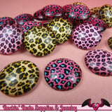 6 pc CHEETAH GLASS DOMES Cabochon / Animal print Decoden Flatback Cabochons 20mm - Rockin Resin  - 2