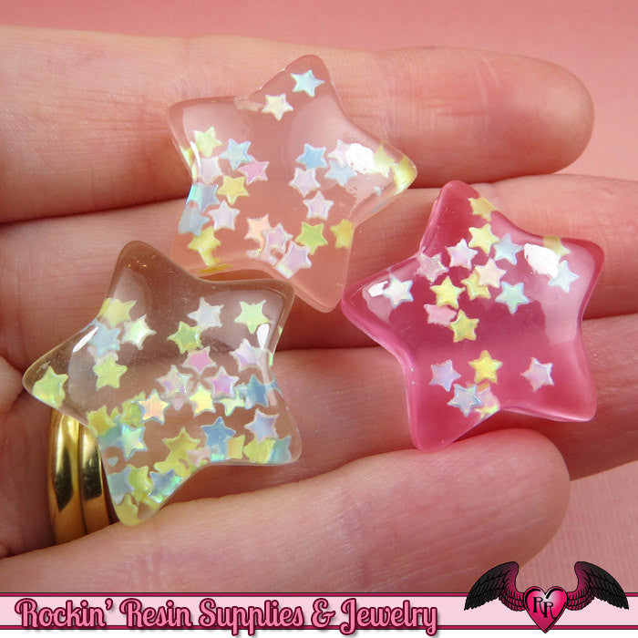 PUFFY GLITTER STARS Kawaii Cabochons / Flatback Resin Decoden Cabochons (6 pieces)