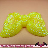 2 pcs FAUX RHINESTONE Yellow BOWS Large Flatback Resin Decoden Kawaii Cabochons 54x42mm - Rockin Resin  - 3