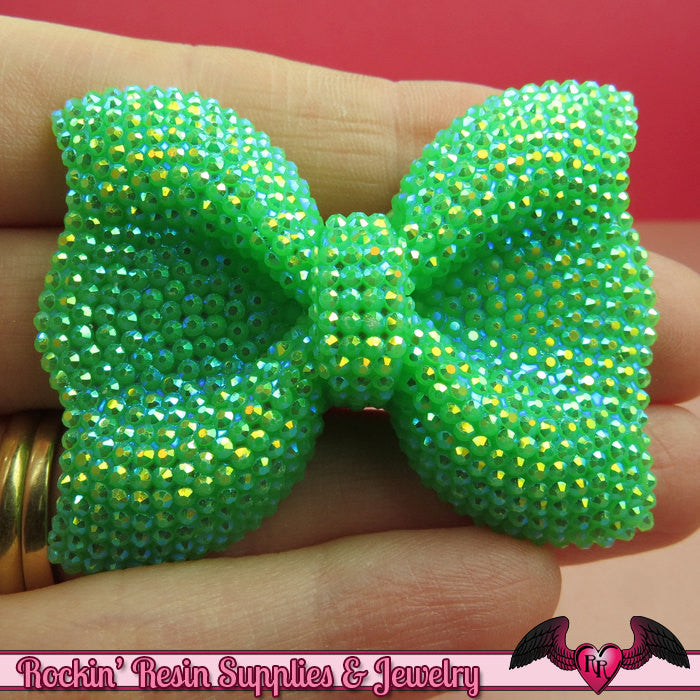 2 pcs FAUX RHINESTONE Green BOWS Large Flatback Resin Decoden Kawaii Cabochons 54x42mm