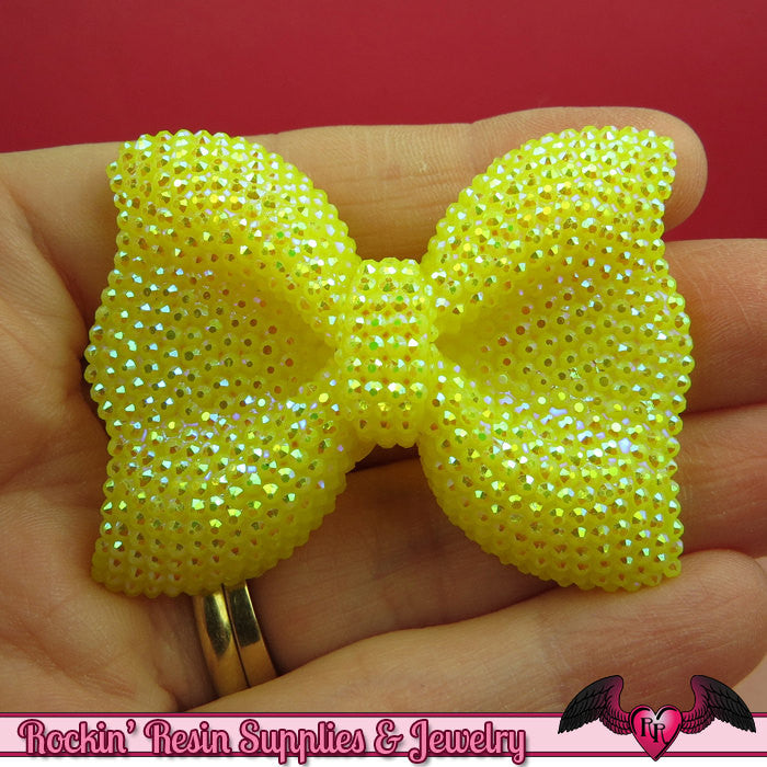 2 pcs FAUX RHINESTONE Yellow BOWS Large Flatback Resin Decoden Kawaii Cabochons 54x42mm