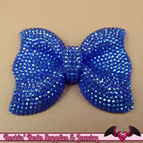 2 pcs FAUX RHINESTONE Navy Blue BOWS Large Flatback Resin Decoden Kawaii Cabochons 54x42mm - Rockin Resin  - 2