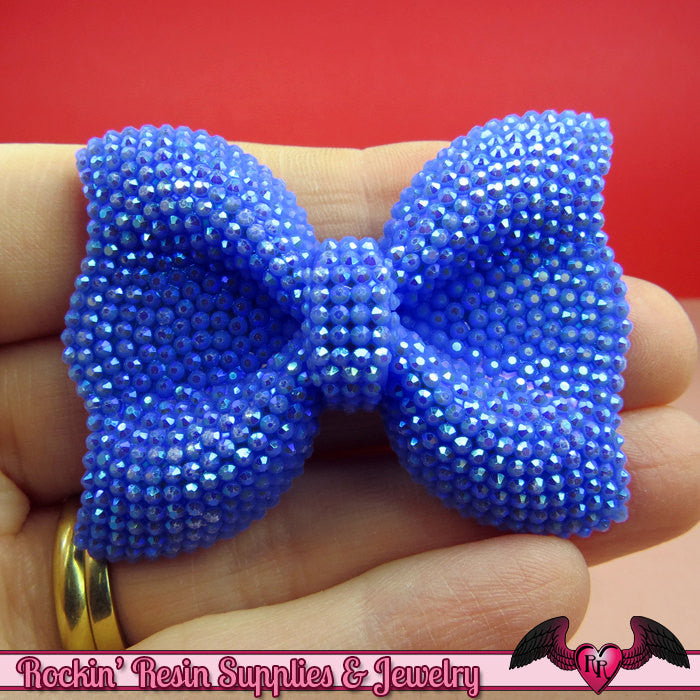 2 pcs FAUX RHINESTONE Navy Blue BOWS Large Flatback Resin Decoden Kawaii Cabochons 54x42mm