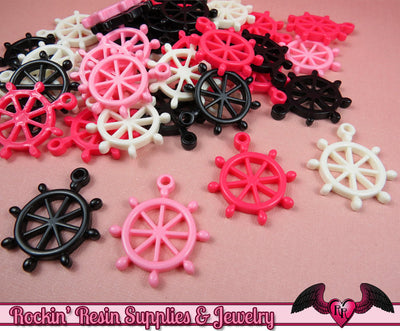 BOAT WHEEL Nautical Charms / Flatback Decoden Resin Kawaii Cabochons (7 pieces) - Rockin Resin
