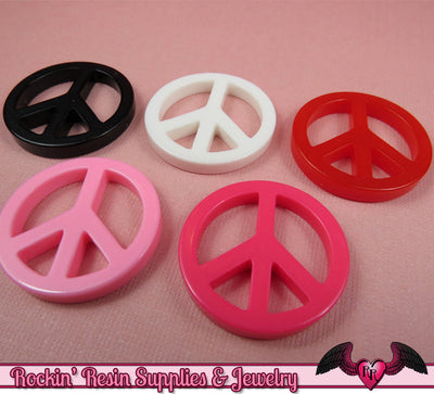 PEACE SIGN Kawaii Cabochons / Flatback Decoden Resin Cabochons / Cellphone Deco (5 pieces) - Rockin Resin  - 1