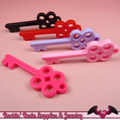 SKELETON KEY Charms / Flatback Decoden Resin Kawaii Cabochons / Cellphone Deco (6 pieces) - Rockin Resin  - 1