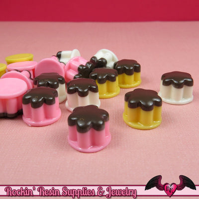 Kawaii Mini Pudding Cabochons / Flatback Decoden Resin Food Cabochons / Cellphone Deco (6 pieces) - Rockin Resin