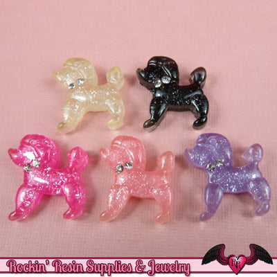 Glitter POODLE DoG KAWAII CABOCHONS / Decoden Flatback Resin Cabochons 19x20mm (5 pieces) - Rockin Resin  - 1