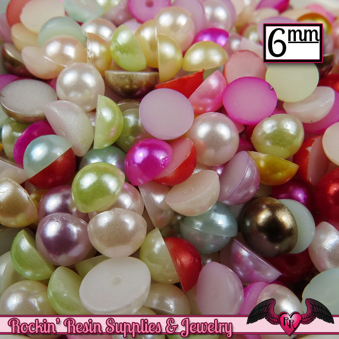 200pc 6mm PASTEL MiX HaLF PEARLS Flatback Decoden Cabochons, Cellphone Deco ABS Pearl Rhinestone Cabochons, Scrapbook Embellishments