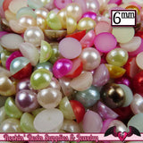 200pc 6mm PASTEL MiX HaLF PEARLS Flatback Decoden Cabochons, Cellphone Deco ABS Pearl Rhinestone Cabochons, Scrapbook Embellishments - Rockin Resin  - 1