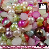 100pc 8mm PASTEL MiX HaLF PEARLS - Rockin Resin  - 2