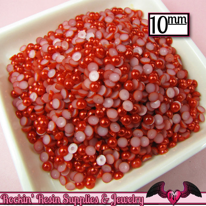 50 pc 10mm Ruby RED HaLF PEARLS Decoden Flatback Cabochons