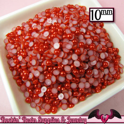 50 pc 10mm Ruby RED HaLF PEARLS Decoden Flatback Cabochons - Rockin Resin  - 1
