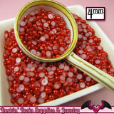 200 pcs 4 mm Ruby RED HaLF PEARLS Decoden Flatback Cabochons - Rockin Resin  - 1