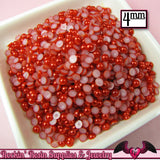 200 pcs 4 mm Ruby RED HaLF PEARLS Decoden Flatback Cabochons - Rockin Resin  - 2