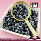 200 pc 4mm BLACK HaLF PEARLS Flatback Decoden Cabochons - Rockin Resin  - 2
