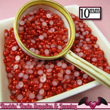 50 pc 10mm Ruby RED HaLF PEARLS Decoden Flatback Cabochons - Rockin Resin  - 2