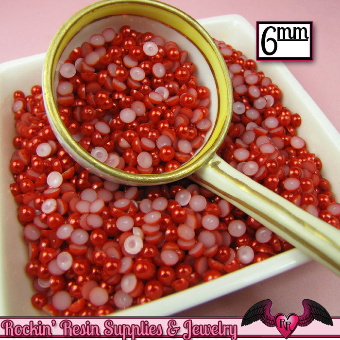 200 pc 6mm Ruby RED HaLF PEARLS Decoden Flatback Cabochons