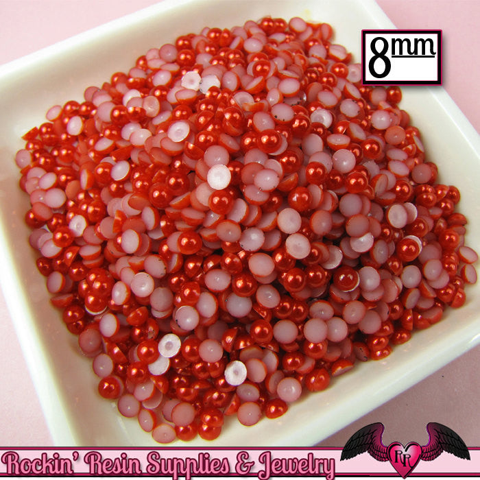 100 pc 8mm Ruby RED HaLF PEARLS