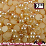 50 pc 10mm Light PEACH HaLF PEARLS Decoden Flatback Cabochons - Rockin Resin  - 1
