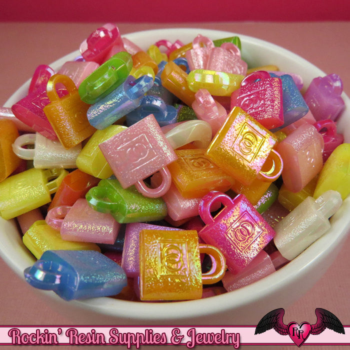 Sparkly LOCK CHARMS AB Acrylic Charms 12x15mm (25 pieces)