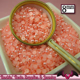 100 pc 8mm Flamingo PINK HaLF PEARLS - Rockin Resin  - 1
