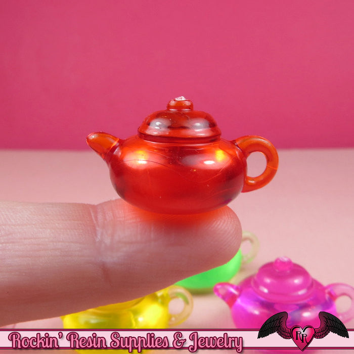 Colorful TEAPOT Transparent Acrylic Charms / Beads / Pendants 28mm (12 pieces)