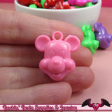 Bright MOUSE HEAD Acrylic Charms / Beads / Pendants 26x24mm (12 pieces) - Rockin Resin  - 2