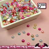 200 pc 6mm Bright PASTEL Mix HaLF PEARLS Flatback Decoden Cabochons - Rockin Resin  - 2