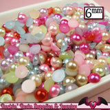 200 pc 6mm Bright PASTEL Mix HaLF PEARLS Flatback Decoden Cabochons - Rockin Resin  - 3