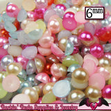 200 pc 6mm Bright PASTEL Mix HaLF PEARLS Flatback Decoden Cabochons - Rockin Resin  - 1