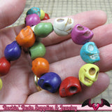 32pc Mixed Color Strand Simulated Turquoise Howlite Skull Beads 12x10mm - Rockin Resin  - 2