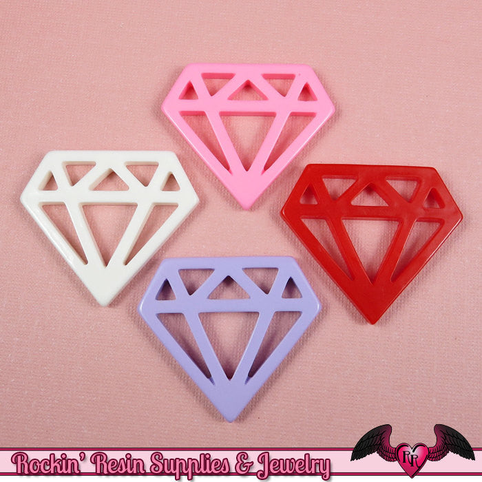 5pc DIAMONDS Flatback Resin Decoden Cabochons / Cellphone Deco 33x38mm - Rockin Resin  - 1