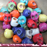 32pc Mixed Color Strand Simulated Turquoise Howlite Skull Beads 12x10mm - Rockin Resin  - 1