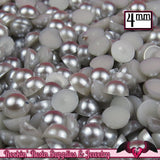 200 pc 4mm GREY BLUE Half Pearls,  Flatback Decoden Cabochons - Rockin Resin  - 1