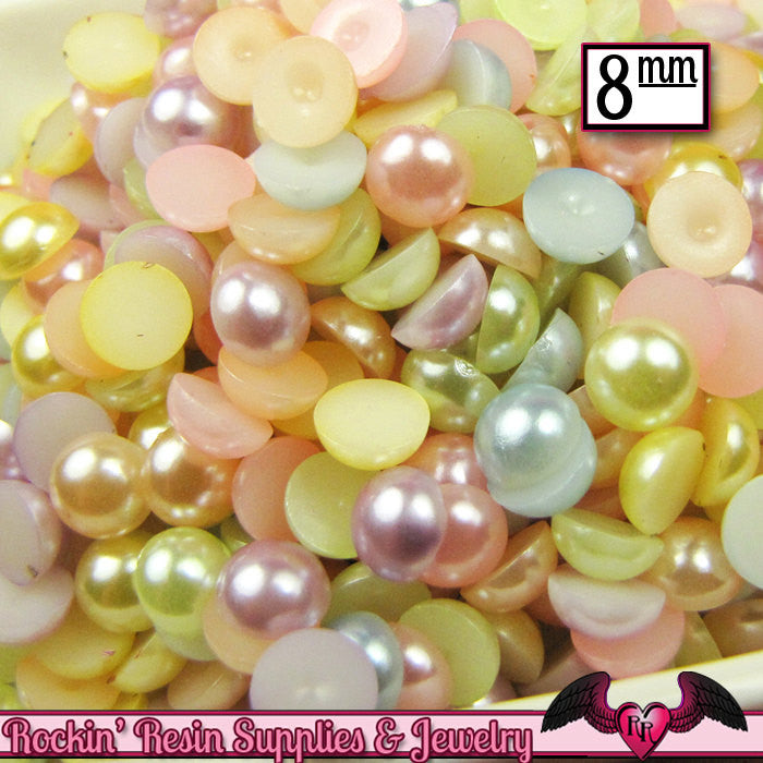 100 pc 8mm Light Pastel Mix HaLF PEARLS