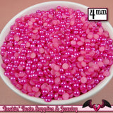 200 pcs 4 mm Hot PINK HALF PEARL Flatbacks / Cellphone Decoden - Rockin Resin  - 2