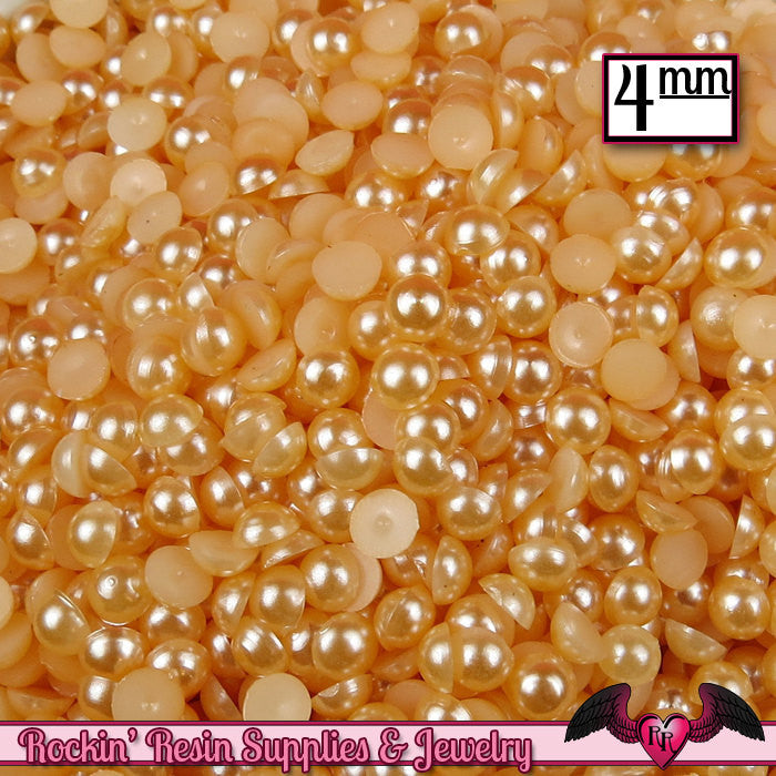 200 pc 4mm PEACH Half Pearls,  Flatback Decoden Cabochons