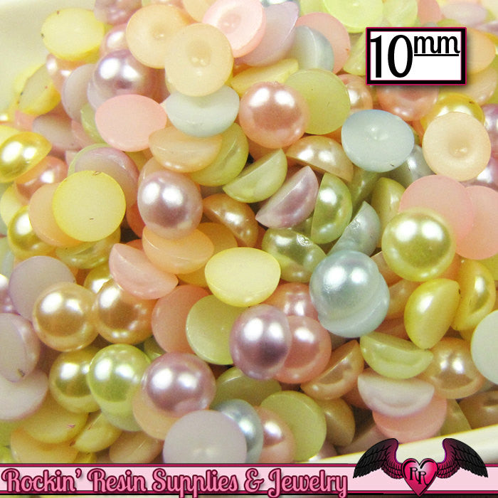 10mm 50pc Light PASTEL Mix HaLF PEARLS