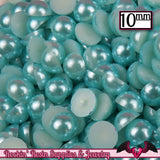 10mm 50pc AQUA Blue HaLF PEARLS - Rockin Resin  - 1