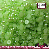 200 pcs 4mm Key Lime GREEN HALF PEARLS Flatbacks Decoden Cabochons - Rockin Resin  - 2