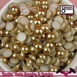 100pc 8mm Light BROWN Half Pearls - Rockin Resin  - 2