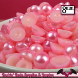100pc 8mm PINK Half Pearls - Rockin Resin  - 2