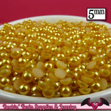 200pc 5mm GOLD YELLOW Half Pearls  Flatback Decoden Cabochons - Rockin Resin  - 2