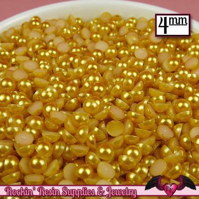 200pc 4mm GOLD YELLOW Half Pearls  Flatback Decoden Cabochons - Rockin Resin  - 1