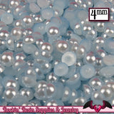 200 pc 4mm PALE BLUE Half Pearls,  Flatback Decoden Cabochons - Rockin Resin  - 1