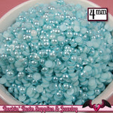 200pc 4mm Light Aqua Blue HaLF PEARLS   Flatback Decoden Cabochons - Rockin Resin  - 1