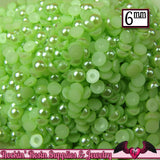 200pc 6mm Key Lime GREEN HaLF PEARLS   Flatback Decoden Cabochons - Rockin Resin  - 1